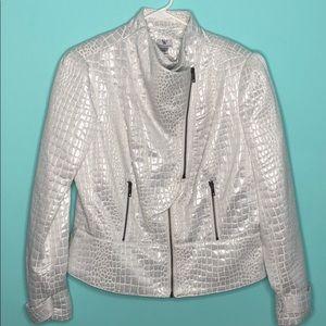 White/silver animal print Moto jacket blazer NWT